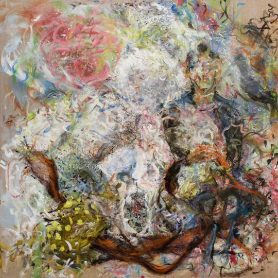 Abstract figurative large painting on linen with lots of movement.