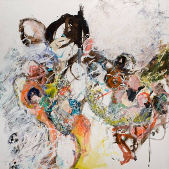 Large abstract work representing insides to outsides, playful and full of movement