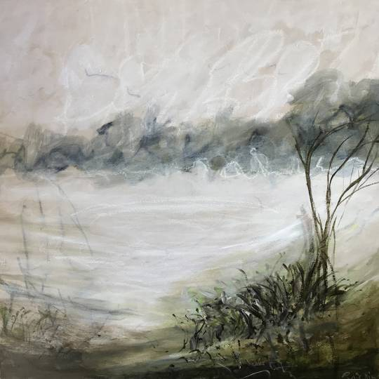 Monochromatic oil acrylic and crayon painting of foggy watsonville wetlands