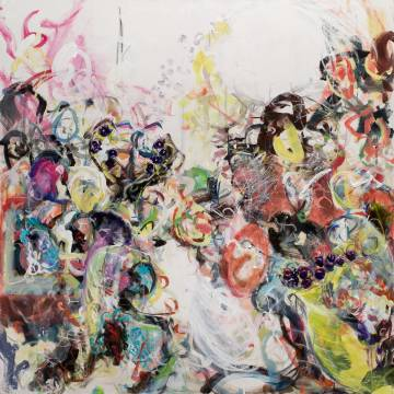 Large figurative Abstract painting on canvas representing a crowd and its interior