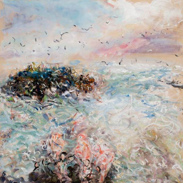 Mixed media on panel painting of movement of people and ocean at Westcliff in Santa Cruz